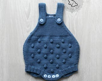 Hand Knitted Baby Romper.