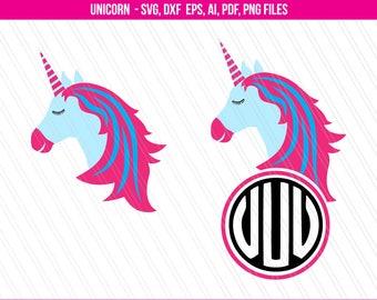 Unicorn SVG, Unicorn Monogram SVG, Unicorn face head svg,Svg Files, Cricut Svg - Ai, Png, Svg, Dxf, Eps, Pdf-Digital download