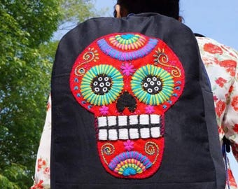 Sugar skull backpack book bag mexico handmade
