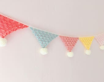 Crochet Bunting | Pom pom Bunting | Crochet Garland | Wall Decor | Nursery Decor | Pom Pom | Photo Prop | Crochet