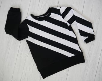 Monochrome stripe long Sleeve Top, Kidswear, Baby Clothes, JMW Kids, Toddler, Jersey, Baby Boy, black and whiter, Unisex Jumper, baby gift