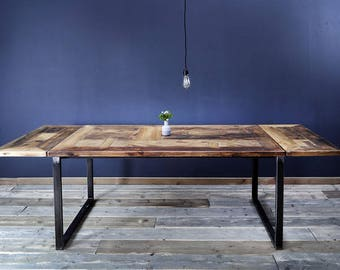 Dining table timber / Erik 1 - iron flower plates