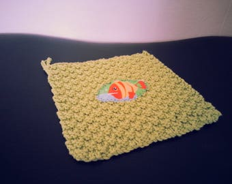 Fish Baby Washcloth with Hook for Hanging - 100% Cotton
