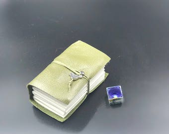 Handmade Olive Leather Kestrel Mini watercolor journal sketchbook