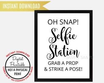 Selfie Station Sign, Grab a Prop & Strike a Pose Sign, Printable, Sign Wedding Bridal Shower sign , Baby Shower Sign, Birthday Party Sign
