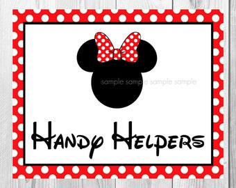 "Handy Helpers Sign, Minnie Mouse Birthday Party Sign, 8""x10"" Printable, Instant Download"