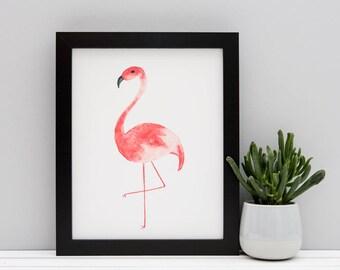 "Flamingo Watercolour Print // 5x7"" / 6x8"" / 8x10"" // Tropical Bird Print"