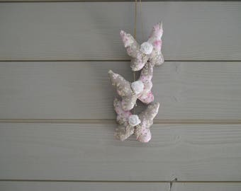 Shabby fabric flower and white rose Butterfly Garland