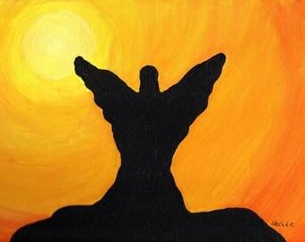 Sun angel original acrylic painting on canvas 20x30cm