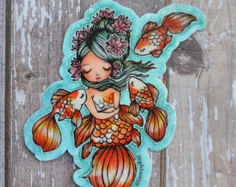 Goldie and Friends 3 Inch Vinyl Sticker (Inspired by mermaids and goldfish)