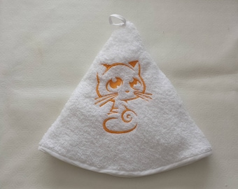 Yellow cat embroidery towel