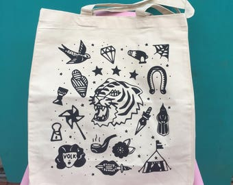 "Tote Bag ""Circus""/tote elaborately silkscreened/Boobie Power/totebag Canvas"