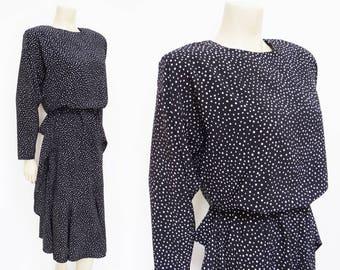 Vintage Dress, UK12, Spotty Dress, Christmas Dress, Vintage Clothing, Designer Vintage, British Vintage, Dress, Polka Dot Dress, Black Dress