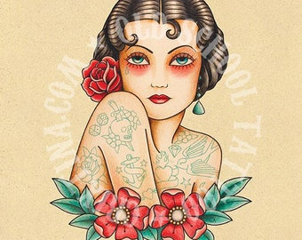 Tattooed woman. Flash tattoo. Old school tattoo. Art tattoo. Digital Print, Instant Download. Printable Illustration.