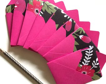 Floral mini cards, gift wrap cards, small note cards, floral gift wrap, card enclosures, gift cards, blank tags, mini cards with envelopes