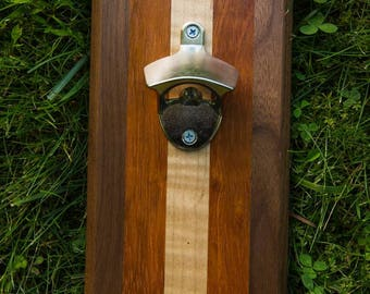 Walnut, Curly Maple, and Cherry Magnetic Bottle Opener