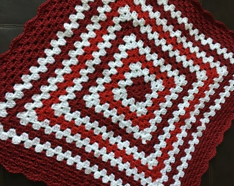 Burgundy, Red & White Granny Blanket