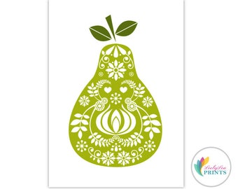 Printable Download of a Pear -  Retro Design Printable - Pear Printable - Retro Kitchen Printable - Fruit Print - Fruit Download