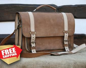 Tan Brown Leather Laptop Bag / Vintage look Laptop Bag / Messenger bag / 15 inch Laptop bag / Laptop bag men / Vintage Look Office Bag