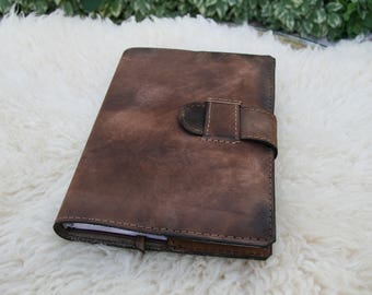 Aged Brown Refillable Leather Bound Journal Cover / Patina Leatherbound Book Cover / Leather Journal Cover / Handmade Leather Notebook Cover