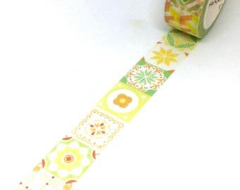 Yellow, Green and Orange Tile Washi Tape