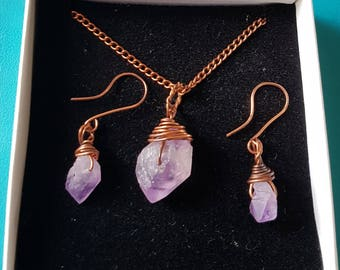 Beautiful wire wrapped rough amethyst gemstone,  oxidised copper necklace and earrings set