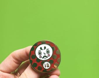 Daruma Doll // Japanese Culture // Kawaii // Lucky Talisman // Hard Enamel Pin // Good Luck // Lucky Charm // Lucky Gift