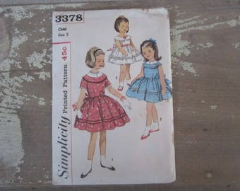 Vintage Simplicity 3378 Printed Sewing Pattern 1960 Child Size 5 Girls Dress Pattern