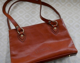 Bag By Valentina, Made In Italy, Italian Leather Bag, Vintage Handbag, Leather Bag, Brown Leather Purse, Shoulder Bag, Long Strap Bag
