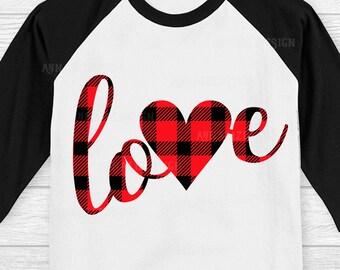 Buffalo plaid Heart svg, Buffalo plaid Love Svg, Heart svg, Plaid svg, Valentine heart svg, Kids Valentines svg, Eps, DXF, PNG, JPG files