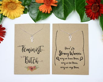 Feminist necklace venus symbol necklace silver plated necklace female symbol gift for a feminist strong female necklace feminist bitch