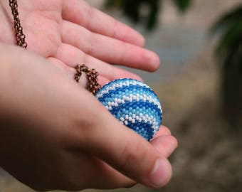 Blue bead pendant, Beaded balls, Long necklace, Long pendant, Pendant necklace, Crystal pendant, Artisan jewelry, Handmade jewelry, Beaded