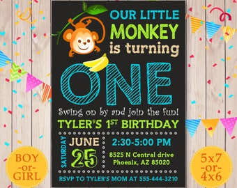 Monkey Birthday Invitation, Monkey Invitation, Monkey party invite, Monkey First Birthday, Monkey 1st Birthday, Little Monkey Printables