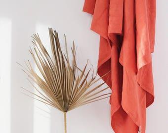 RUST linen throw // Hand dyed Linen blanket // Picnic blanket // Bedding // Terracotta Linen Throw