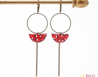 Earrings dangle half moon red floral