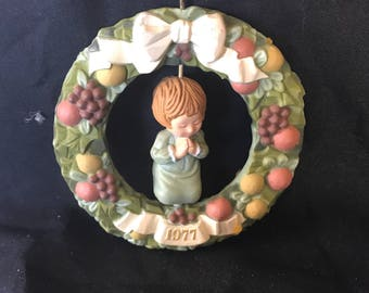 Vintage Hallmark Delka Robia Wreath Ornament - Girl Kneeling In Prayer 1977