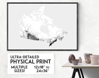 Roads of Canada print | Physical Canada map print, Canada poster, Canada art, Canada map art, Canada wall art, Canada gift, Map of Canada