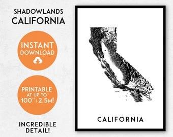 California map print, Printable California map art, California print, California art, California poster, California wall art, Shadowlands