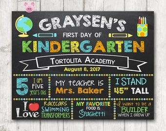 Printable First Day of School Sign, First Day of Preschool Chalkboard Sign, Printable Kindergarten Sign, Boy's Back to School Photo Sign