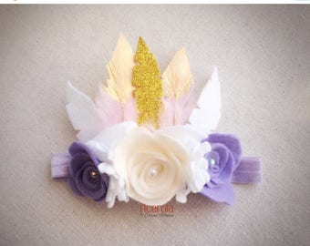 On sale Boho Headband with felt flowers and feathers