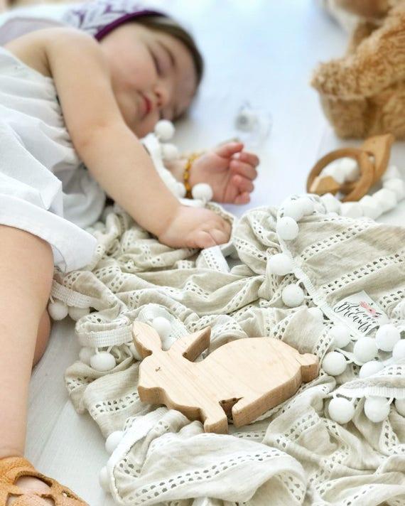 Cream Open Weave Pom Swaddle Blanket