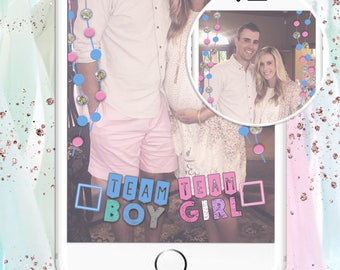 Gender Reveal Snapchat Filter / GeoFilter - Team Boy Team Girl Pink Blue & Glitter Dot Garland - AutoDownload! Ready to submit in minutes!