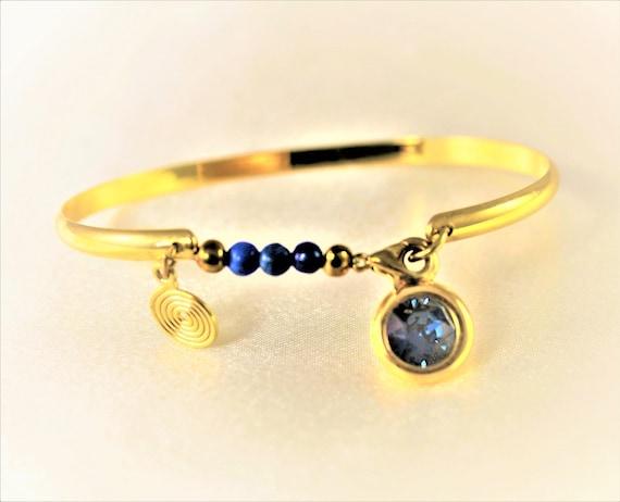 Bangle gold plated 24 k blue gemstones and swarovski cabochon