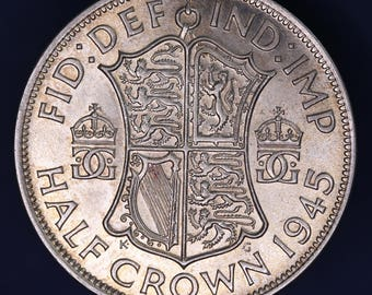 GENUINE 1945 George VI KGVI 50% Silver Half Crown  2/6 excellent coin *[11891]