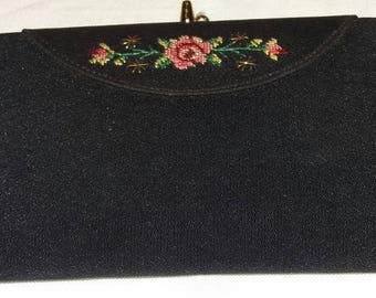 Vintage 1950's black evening clutch bag/purse