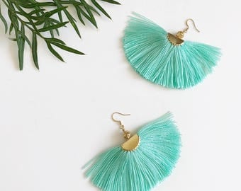 Tassel Earrings, Boho Earrings, Large Fringe Earrings, Mint Dangle and Drop Earrings, Statement Earrings.