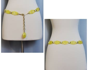 Yellow Marbleized Lucite 60s Belt
