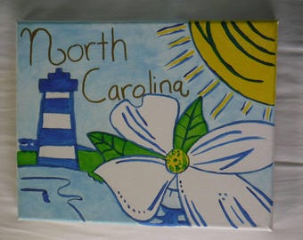 Hand Painted Canvas - Lilly Pulitzer Inspired North Carolina Painting