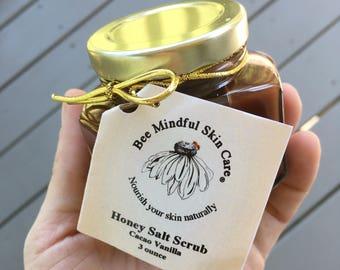 Honey Salt Scrubs, Salt Scrub, Sea Salt Scrub, Natural Body Polish, Exfoliating Scrub, Natural Exfoliant, Bee Products, Bee, Cacao-Vanilla