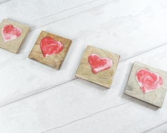 Heart Coasters - Valentines Gift - Gift for Girlfriend - Gift for Mum - Romantic Gift - Love Heart - Pink Coasters - Mom Gift - Partner Gift